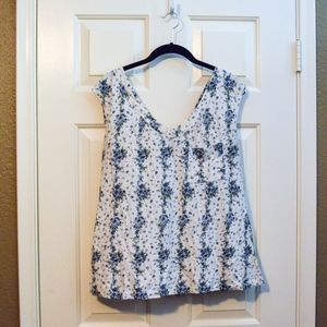 Mossimo Supply Co. Blue Floral Top